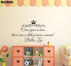 Personalized Once Upon A Time Little Princess Named Wall Art Stickers Wall Decals Home Decoration Removable Decor Wall Stickers Wall Stickers Aliexpress