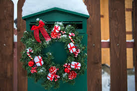 Premium Photo Green Mailbox With Christmas Wreath On A Wooden Fence Home Decoration