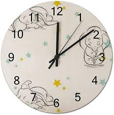 Amazon Com Sdghh Dumbo Patterns 2 Wooden Wall Clock Decorative Home Decor Digital Clock Battery Operated Round Easy To Read Home Office School Living Room Kitchen Bedroom Kids Clock Home Kitchen