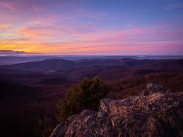 Sunset At Bearfence Mountain Shenandoah National Park Virginia Hiking