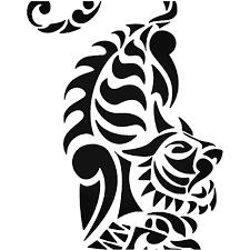 Tribal Tiger Animal Zoo 4 Vinyl Decal Sticker