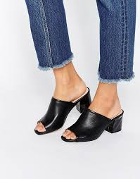 black leather leather mid heeled