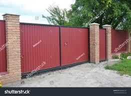 Installing Brick Metal Fence Gate Door Buildings Landmarks Stock Image 680820181