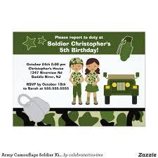 Invitacion El Soldado Del Camuflaje Del Ejercito Embroma A La