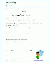 exponents worksheets for grade 5 k5
