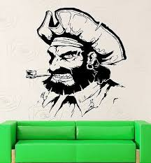 Wall Stickers Pirate Sailor Man Smoking Pipe Kids Room Vinyl Decal Ig2452 Ebay