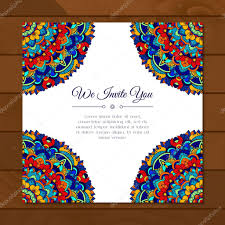 Card Or Invitation With Colorful Mandala Pattern Stock Vector
