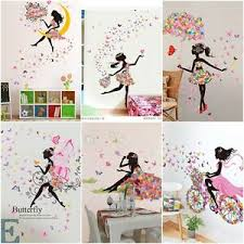 Diy Lovely Pink Girl Art Wall Stickers For Kids Rooms Pvc Wall Decals Home Decor Ebay