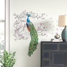 World Menagerie Peacock And Magnolia Tree Wall Decal Reviews Wayfair
