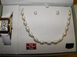 freshwater pearl necklace earrings set