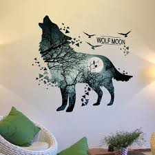 Home Garden Wolf Moon Forest Wall Stickers Diy Room Decoration Mural Art Sticker Home Decor Children S Bedroom Girl Decor Decals Stickers Vinyl Art