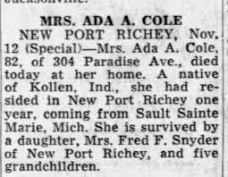 "Jackson), Ada Alice ""Addie"" Cole-Death-13 Nov 1960 - Newspapers.com"