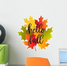 Autumn Leaves Hello Fall Wall Decal Wallmonkeys Com