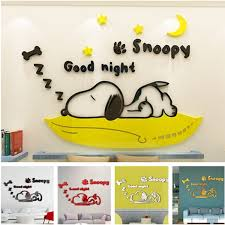 Snoopy 3d Acrylic Wall Sticker Nursery Bedroom Living Room Decoration Wish