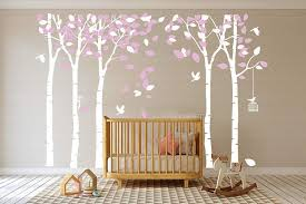 Amazon Com Mafent Giant Family Tree Wall Decals Forest Birch Tree Wall Stickers Birds Wall Art For Kids Room Nursery Bedroom Living Room Decoration White Pink Kitchen Dining