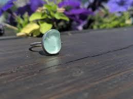 light blue lake erie beach glass ring