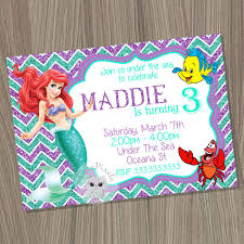 Little Mermaid Invitation Ariel Invitation Disney Little Mermaid