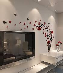 Amazon Com Decorsmart Plastic Trees And Birds 3d Wall Decals 3110 Red Black Home Kitchen