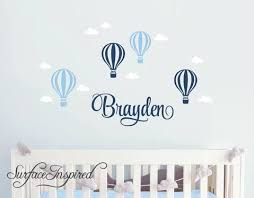 Wall Decals Personalized Name Hot Air Balloons With Clouds Wall Decals Large Stickers Vinyl Decal Stickers Nursery Personalized Name Sydney With Hot Air Balloons Style Surface Inspired Home Decor Wall Decals