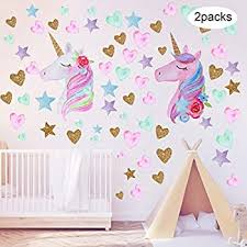 White Gold Room Decor Wall Decor Aiyang Unicorn Wall Decals Rainbow Colors Unicorn Wall Stickers Golden Stars Love Heart Wall Stickers For Kids Baby Girl Bedroom Playroom Decor Kids Furniture Decor Storage