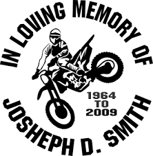 Dirt Bike Racing Motocross Custom Memorial Die Cut Vinyl Car Decal Designer Series Decals In Loving Memory Car Window Decals