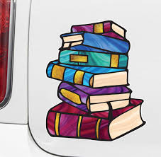 The Decal Store Com By Yadda Yadda Design Co Clr Car Books Stack Of Books Stained Glass Style Opaque Viny