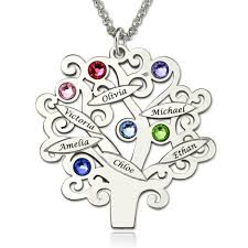 engraved family tree necklace with