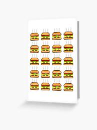 Pixel Cheeseburger Pattern Greeting Card By Maximumcapacity Redbubble