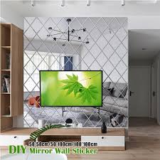 New Diamond Splicing Background Wall Mirror Wall Sticker Acrylic Mirror Decorative Sticker Buy At A Low Prices On Joom E Commerce Platform