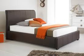 brown faux leather ottoman storage bed