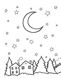 Kleuren Nu Kerstmis Maan Met Sterren Kleurplaten