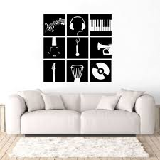 Wall Art Decal Music Instruments Wall Sticker Paino Trumpet Guitar Vinyl Wall Mural Home Decor Vaiour Musical Tools Decal Ay1254 Wall Stickers Aliexpress