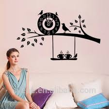 3d Art Custom Vinyl Wall Sticker Clock Flying Birds Tree Branch Wall Decal For Living Room Mural Home Decor Wallpaper Decoration Buy Wall Sticker Clock Flying Birds Wall Decal Wall Clock Sticker Product