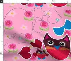 pink owl cut and sew kit spoonflower