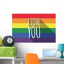 Amazon Com Wallmonkeys Wm359555 Vector Long Shadow Gay Pride Flag With The Text I Love You Wall Decal Peel And Stick Graphic 36 In W X 24 In H Home Kitchen