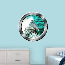 Vwaq Dolphin Porthole Wall Decal Ocean Wall Sticker Animal Nature View