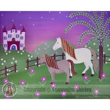 Royal Pastures Kids Art Print Of Castle Horses Painting Girls Room Kid Wall Art Prints For Baby Nursery Child Teen Bedroom Decor