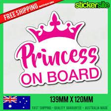 Princess On Board Sticker Princess Baby On Board Car Window Sticker Decal Ebay
