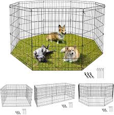 Amazon Com Zeny Puppy Pet Playpen 8 Panel Indoor Outdoor Metal Portable Folding Animal Exercise Dog Fence 30 H Pet Supplies
