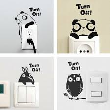 4pcs Set Removable Cute Switch Wall Sticker Cartoon Animal Art Vinyl Decal Home Decor Wall Window Stickers Bedroom Decor Cute Home Decor Olivia Decor Decor For Your Home And Office