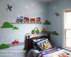 Transportation Wall Decals On Etsy A Global Handmade And Vintage Marketplace Boy Toddler Bedroom Boy Room Toddler Boys Room