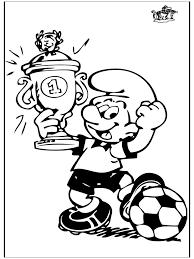 Smurf Met Beker Voetbal Kleurplaten