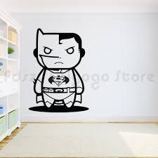 Batman Wall Sticker Superhero Inspiration Wall Decal Kids Boys Room Decor Superman Vs Batman Wall Art Mural Cartoon Decalq292 Wall Stickers Aliexpress