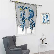 Amazon Com Gugeabc Lush Decor Curtains Letter B Kids Bedroom Windowsill European Art Elements Floral B Letter In Alphabet Natural Inspirations 42 Wide By 72 Long Blue Yellow Orange Home Kitchen