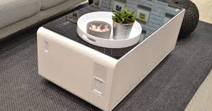 sobro coffee table has a refrigerated