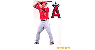 Fathead Mike Trout Los Angeles Angels Logo Set Official Mlb Vinyl Wall Graphics 17 Inch