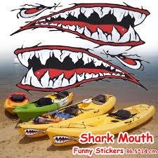 2pcs 15 36 5x14cm Shark Teeth Decals Sticker Fishing Boat Canoe Kaya Carseatinn