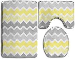 bathroom rug mats set 3pcs yellow grey