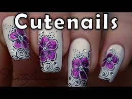 purple flower swirls nail art design