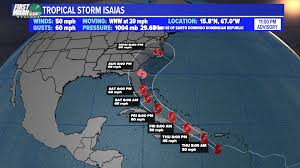 """Iisha Scott on Twitter: """"We now have #Isaias, the earliest """"I"""" named storm  to form. Remember, the center of the storm could be anywhere within the  cone. Still a lot of uncertainty,"""